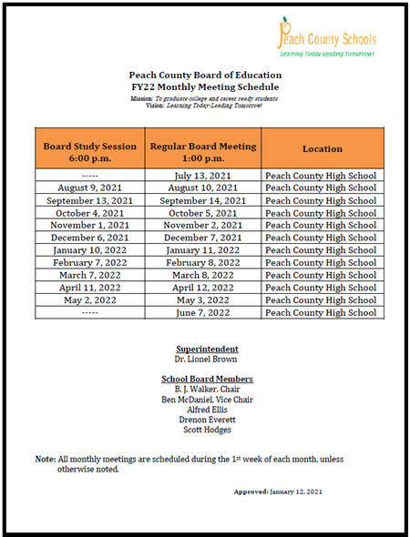 FY22 Board Meeting Calendar