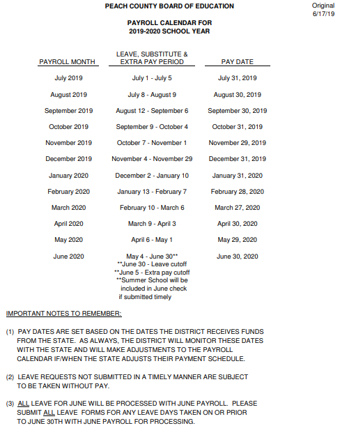 District payroll calendar showing dates employees are paid