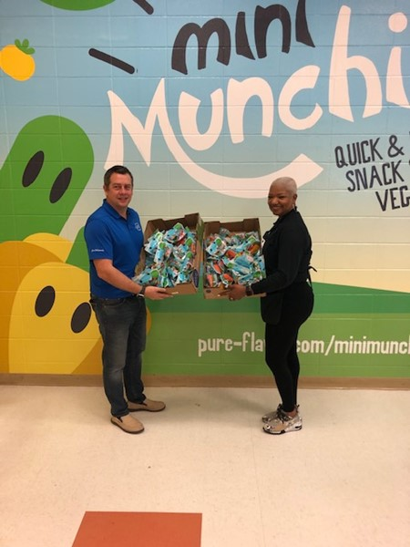 Peach County School Nutrition program partners with Pure Flavor in supporting the Georgia Grown initiative.  Pure Flavor adopted Hunt Elementary as their pilot school.  